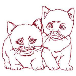 Redwork Kittens embroidery design