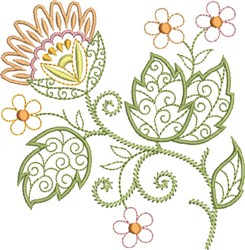 Curlicue Floral embroidery design