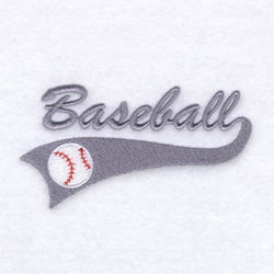 Baseball Script Tail embroidery design