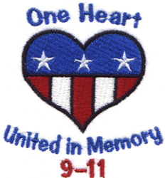 USA - One Heart embroidery design