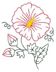 Hibiscus Flower Outline #2 embroidery design