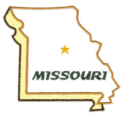 Missouri State Outline embroidery design
