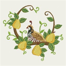 Pears And Quail embroidery design