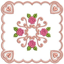 Roses And Hearts embroidery design
