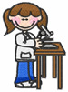 Girl With Microscope embroidery design