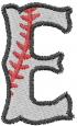 Baseball Letter E embroidery design