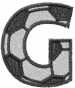 Soccerball  Letter G embroidery design