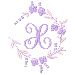 Floral Monogram X embroidery design