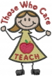Teacher care embroidery design