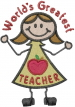 Greatest Teacher embroidery design