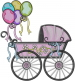 Carriage With Balloons embroidery design