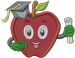 School Apple embroidery design