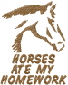 Horses Ate My Homework embroidery design