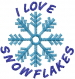I LOVE SNOWFLAKES embroidery design