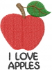 Apple I LOVE APPLES embroidery design