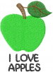 Apple GREEN I LOVE APPLES embroidery design