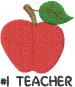 Apple TEACHER embroidery design