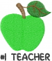 Apple GREEN TEACHER embroidery design