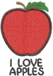 Apple 1 I LOVE APPLES embroidery design