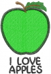 Apple 1 GREEN I LOVE APPLES embroidery design