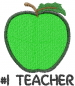 Apple 1 GREEN TEACHER embroidery design