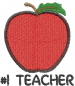 Apple 1 TEACHER embroidery design