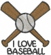Baseball I LOVE BASEBALL embroidery design
