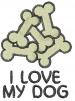 Bones I LOVE MY DOG embroidery design
