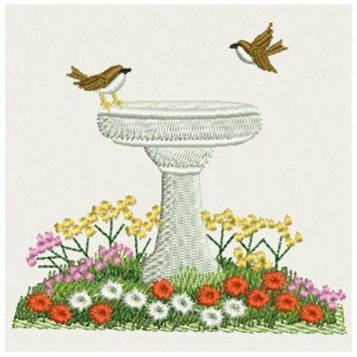 Ace points embroidery design bird bath inches h x 3 for Bathroom embroidery designs