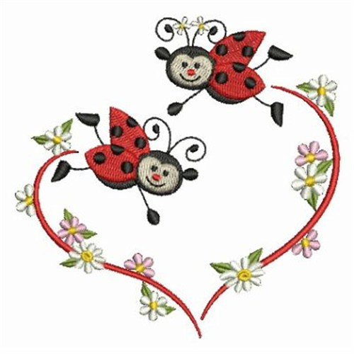 Ace Points Embroidery Design: Lively Ladybugs 3.83 inches H x 3.86 ...
