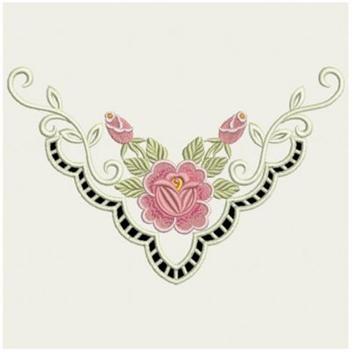 Ace points embroidery design heirloom cutwork neckline