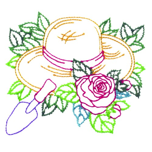 Annthegran embroidery design garden hat inches h x 3 for Garden embroidery designs free