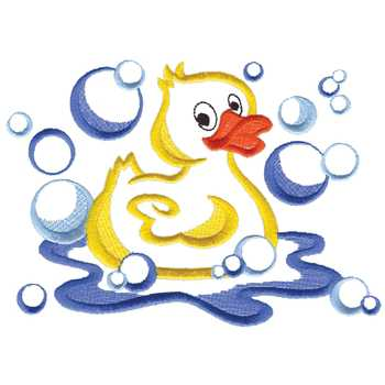 Dakota Collectibles Embroidery Design: Rubber Duck In Bubbles 4.97