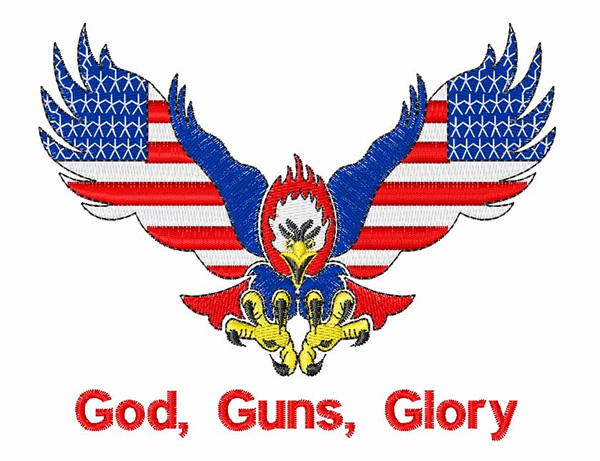 Embroidery patterns design god guns glory
