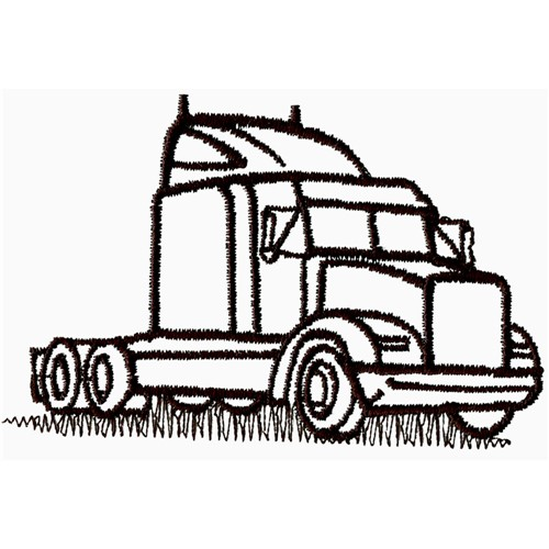 Semi Truck And Trailer Outline Images & Pictures - Becuo