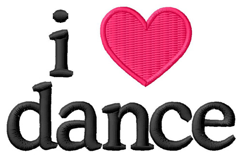 Grand Slam Designs Embroidery Design: I Love Dance 1.95 inches H x ...