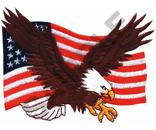 Great Notions Embroidery Design AMERICAN EAGLE FLAG 297
