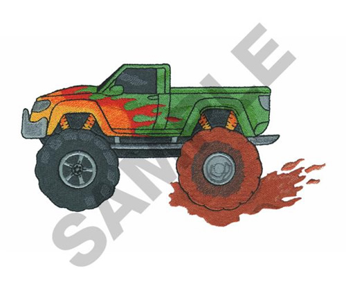 Great Notions Embroidery Design: MONSTER TRUCK MUD PATCH 3