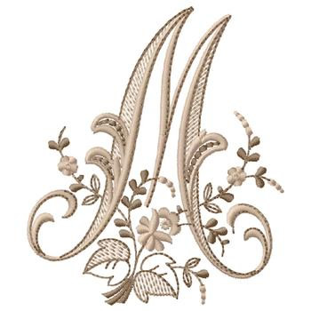 Gunold embroidery design monogram m 431 inches h x 370 for Embroidery prices per letter