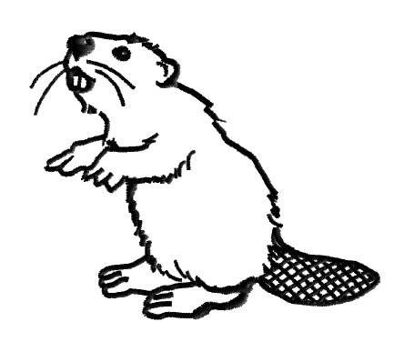King Graphics Embroidery Design Beaver Outline 2 90