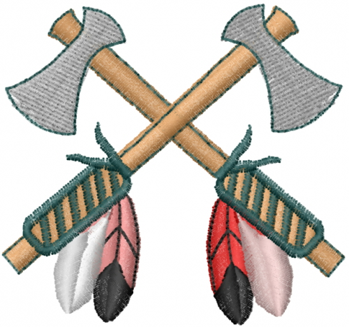 Lyns Emb Embroidery Design Crossed Tomahawks 2 28 Inches