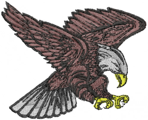 Lyns Emb Embroidery Design Eagle 2.17 Inches H X 2.68 Inches W