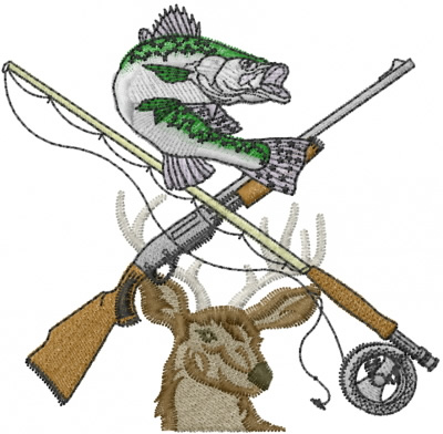 Fishing And Hunting Embroidery