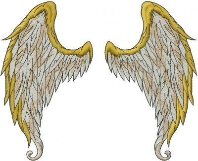 Wings And Halo Embroidery Design