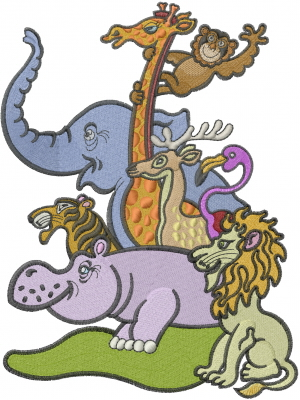 Machine Embroidery Designs Embroidery Design Zoo Animals 8.87 Inches H X 6.65 Inches W