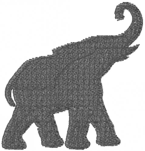 Mead Artworks Embroidery Design ELEPHANT 211 Inches H X
