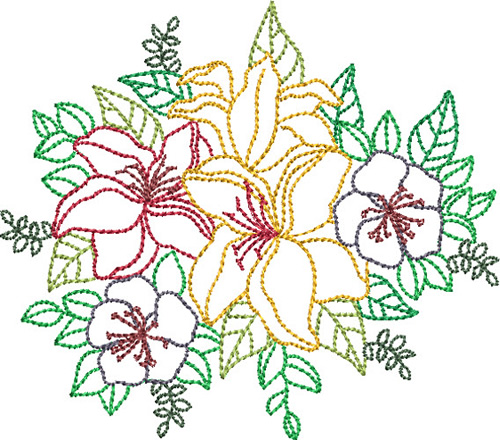 Pat Williams Embroidery Design Backstitch Bouquet 345
