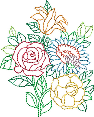 Pat Williams Embroidery Design Backstitch Bouquet 394