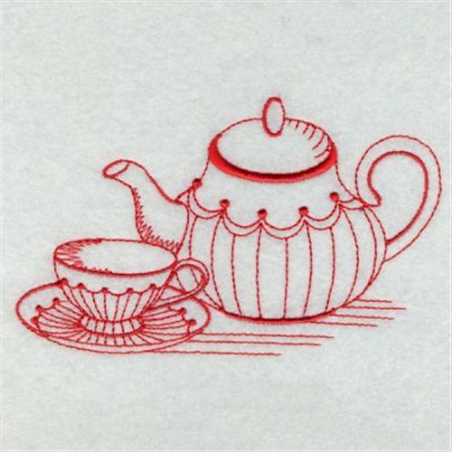 Premium Embroidery Embroidery Design Redwork Teapot 241