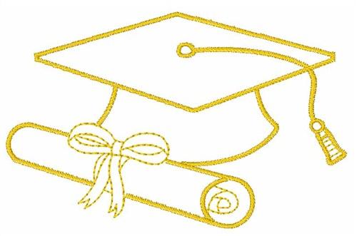 Satin stitch embroidery design graduation cap inches